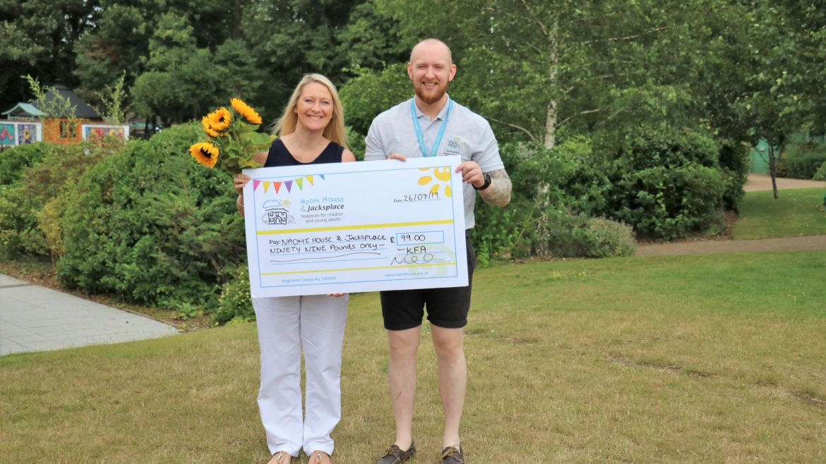 Naomi House Cheque presentation Gardening 2019 1170x658 - Nicki visits Naomi House & Jacksplace to present cheque