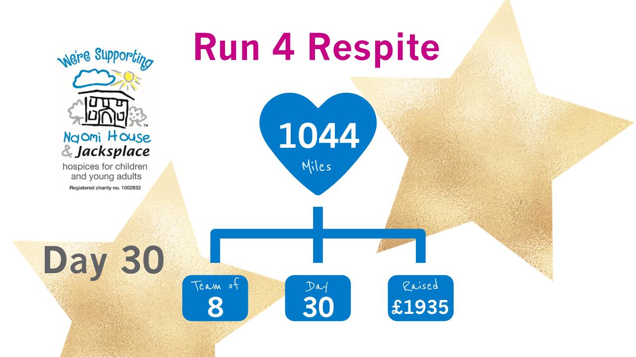 Run 4 Respite Update Day 30 - Crossing the 'Run 4 Respite' Finish Line - Day 30
