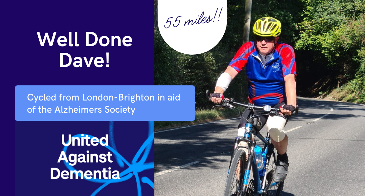 Well Done Dave 1 1170x628 - He did it! Dave Cycled London-Brighton for Alzheimer's Society