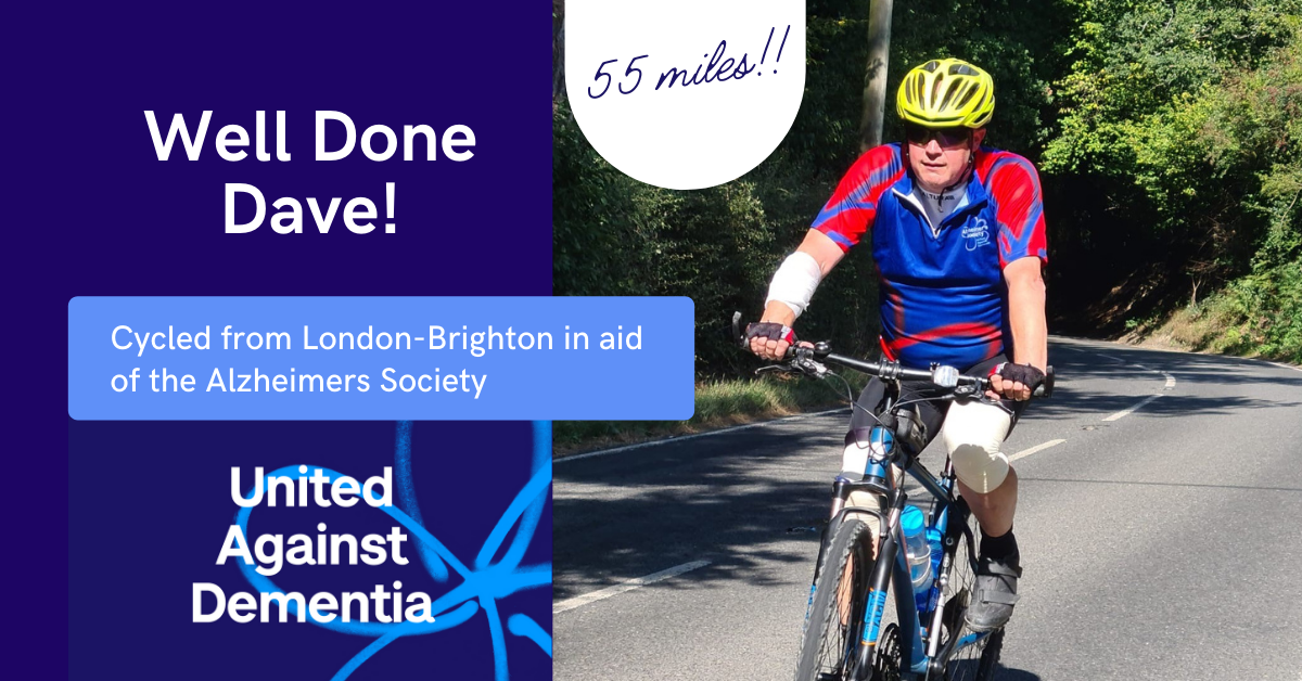 Well Done Dave 1 - He did it! Dave Cycled London-Brighton for Alzheimer's Society